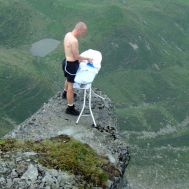 Ironing on top of a cliff