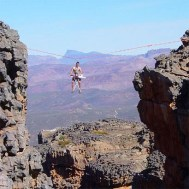 Super scary height zip wire extreme ironing