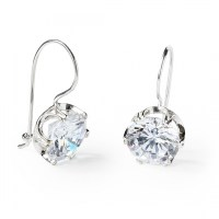 Sterling Silver Earrings with Large Round White Cubic ...