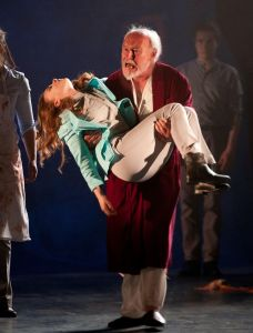 Light weight: King Lear carries Cordelia during the climax of the play