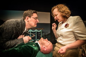 Jonny McClean as Alcazar is inspected by Jill Myers as Artemis and Feargus Woods Dunlop in the play. Pamela Raith Photography