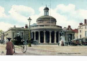 PONY AND TRAP: this postcard is from around 1900 in Bridgwater at the Cornhill