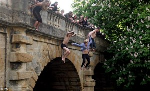 Leaping into the River Cherwell in Oxford. Pic: Daily Mail
