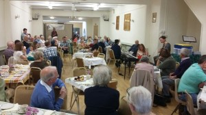 May 2016: The Voices of Axbridge oral history programmes comes to an end with a tea party in the town hall.