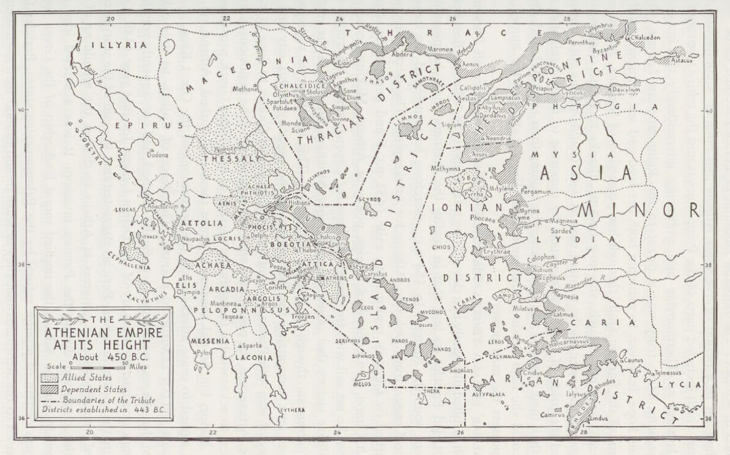 Map: Ancient Athenian Empire at its Height