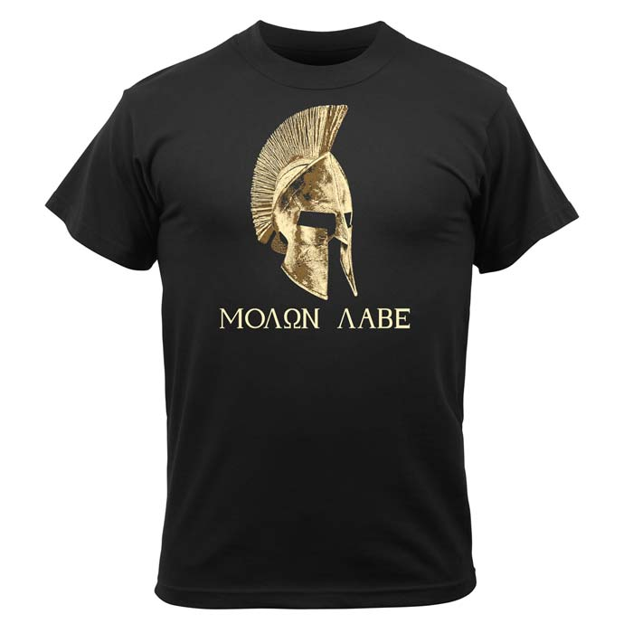 Mens Black Molon Labe Greek Military TShirt