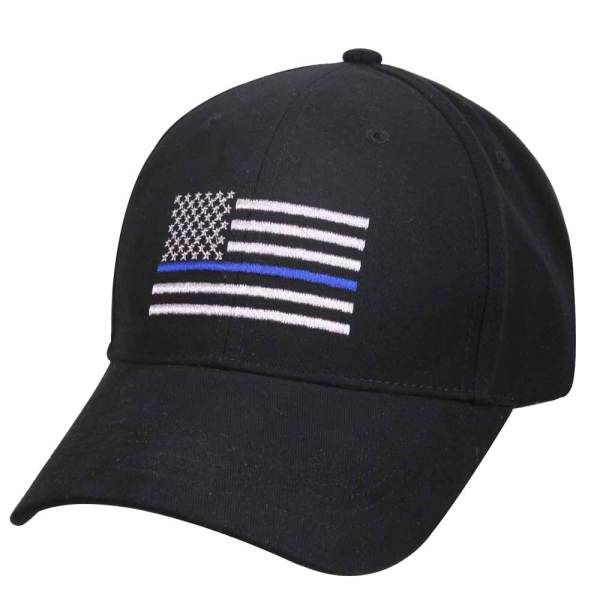 Embroidered Thin Blue Line Flag Police Baseball Cap