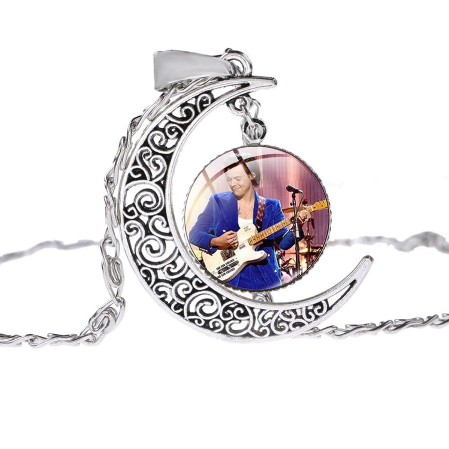 Harry Styles Crescent Moon Pendant Charm Silver Color for Fans Music Necklace