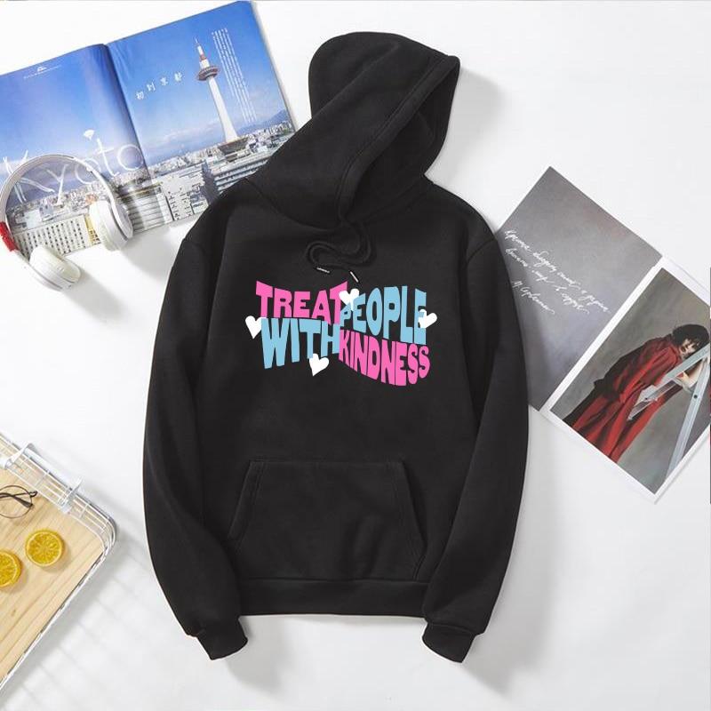 Treat People With Kindness fun pink Hoodie Sweatshirt Streetwear Harajuku Women Clothes