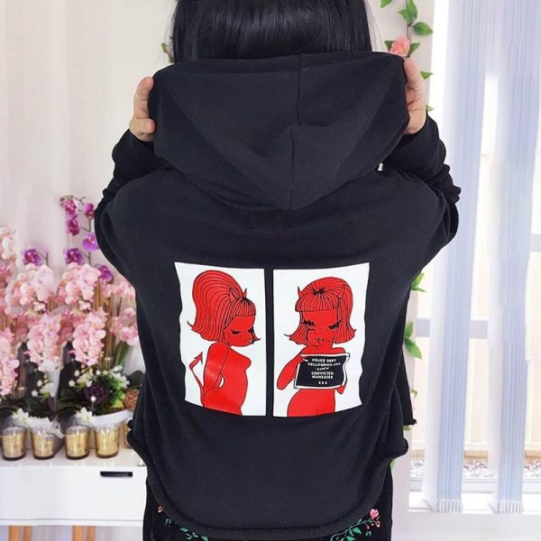 Harry Styles Korean Print Hoody Skateboard Girl Sweatshirt Loose Female Jacket