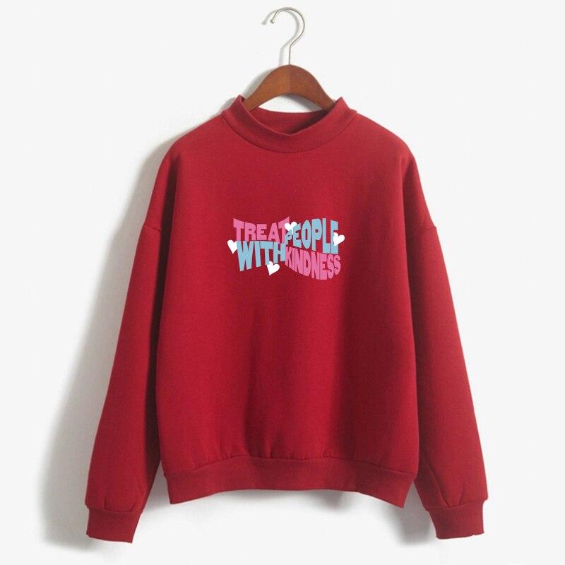 Kpop Hoodies Women Autumn Hoodie Winter Harry Styles Treat People With Kindness Letters