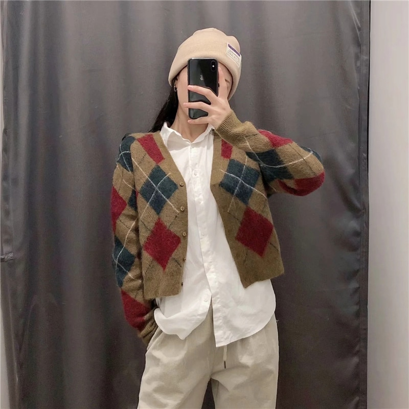 Harry Styles Short Cardigan Argyle Cropped Knitted Sweater Women