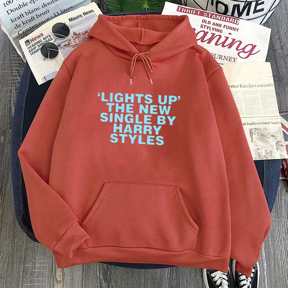 """Harry Styles Hoodies Casual Print """"Lights Up"""" Pink Hoodie Women"""