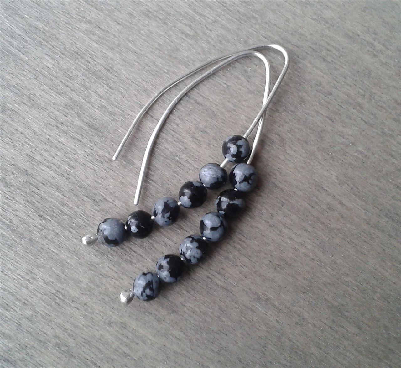 Snowflake obsidian threader earrings