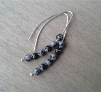 Snowflake obsidian threader earrings