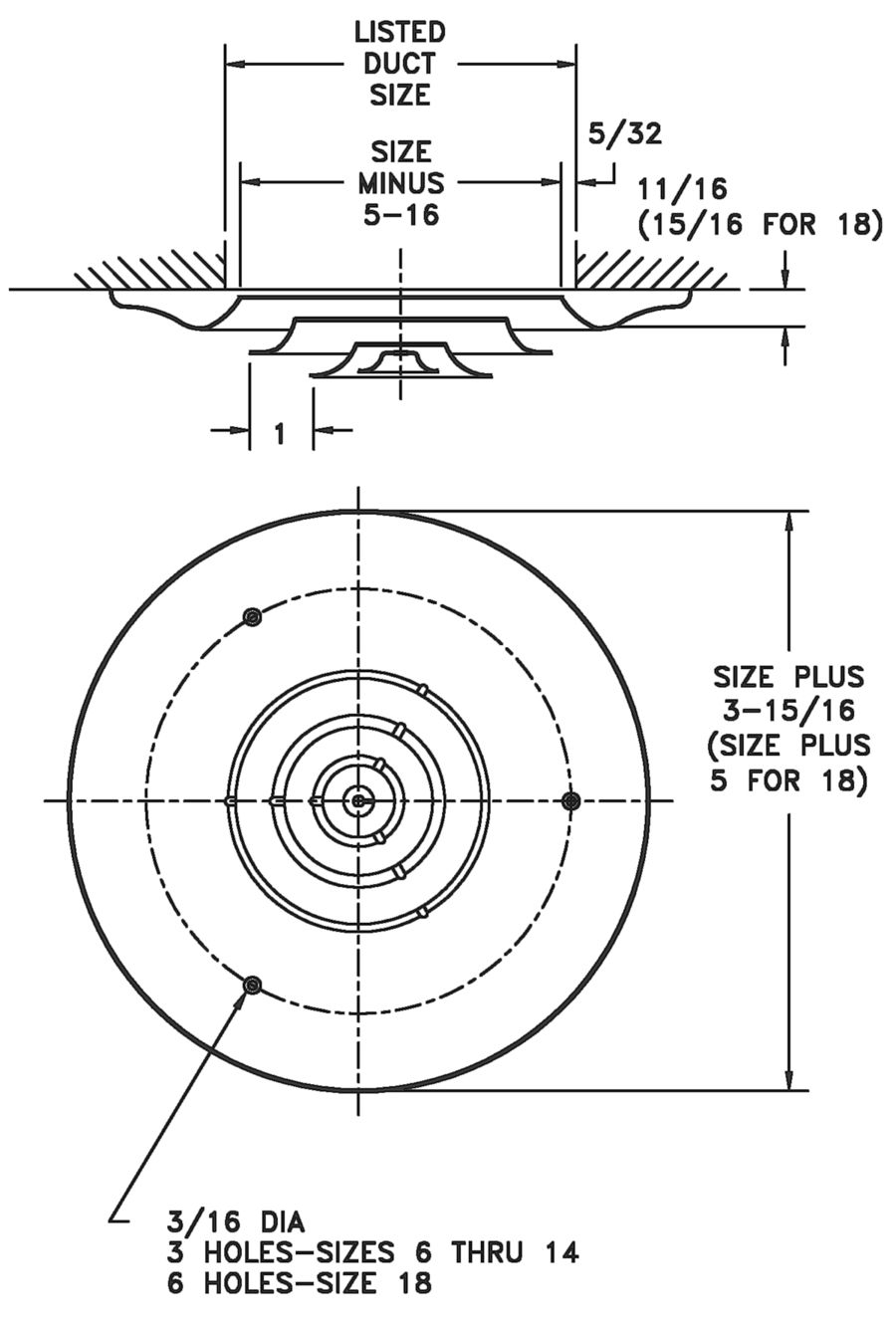 hight resolution of 16 steel round diffuser dimensional drawing