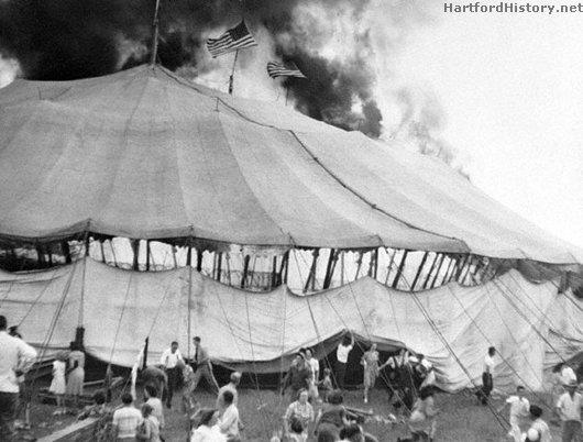 Photo of tent burning at Hartford circus fire, 1944.