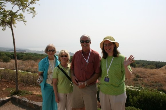 Lillian, Sandra, Bob and Kathy in front of the Sea of Galilee