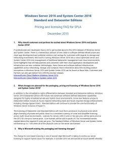 Windows Server & System Center 2016 Partner FAQ - SPLA