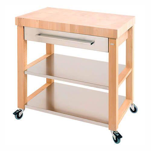 large kitchen cart restoring cabinets eddingtons chilton end grain stainless steel drawer trolley