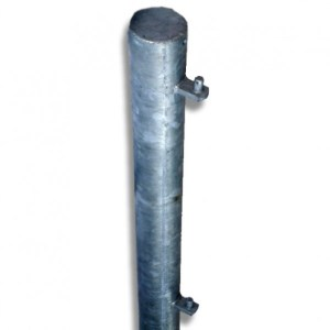 Hanging galvanised gate post