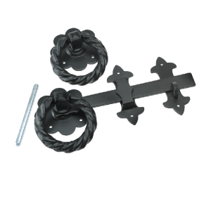 Large Black Ornamental ring latch 8""