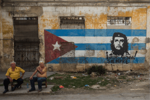 """There is no commercial advertising in Cuba. The words on the mural read """"Towards victory always."""""""