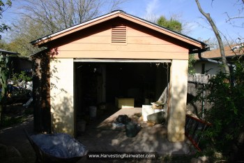 Figure 1. One-car garage before transformation. Most of junk within had just been removed to begin renovation.
