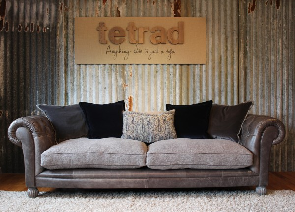 leather and chenille sofa farmhouse bed tetrad mixed fabric sofas constable westchester lowry degas