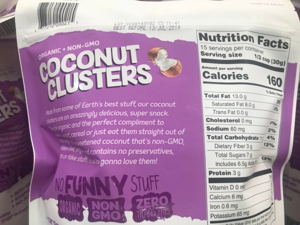 Innofoods Coconut Clusters Nutrition Facts