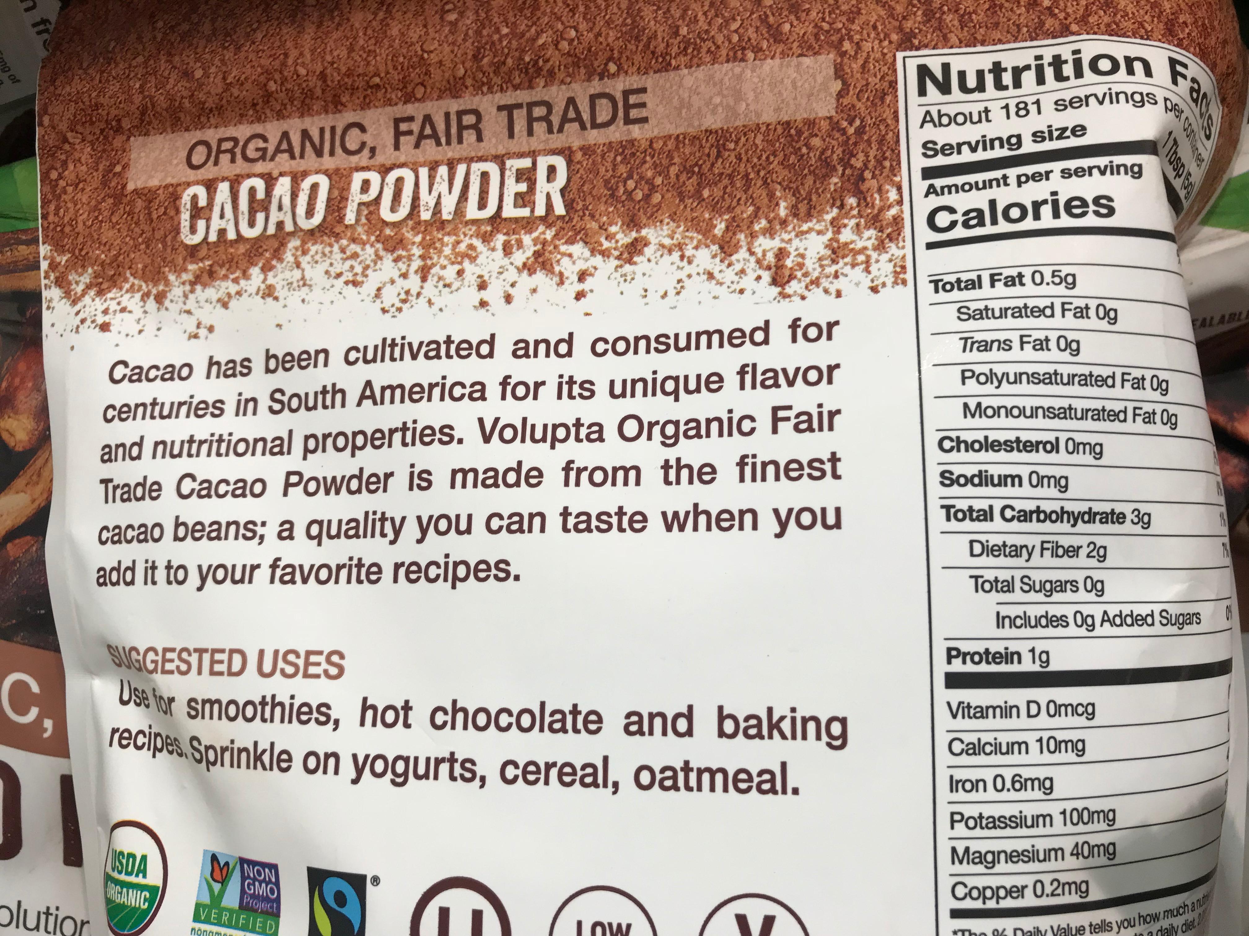 Volupta Organic Cacao Powder Product Description Nutrition