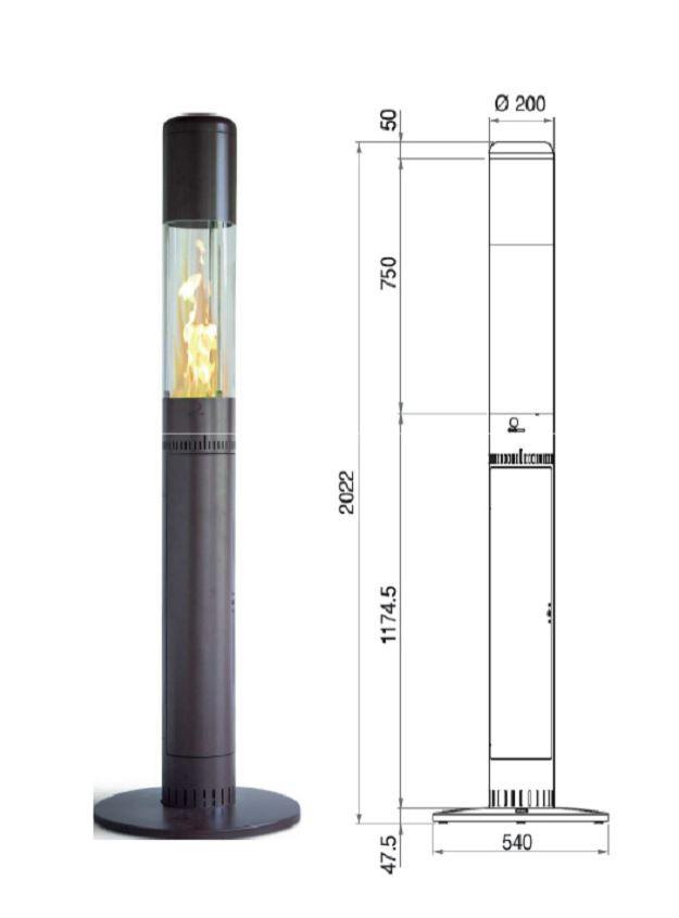 pob faro 2 0 outdoor fire patio heater wood pellets