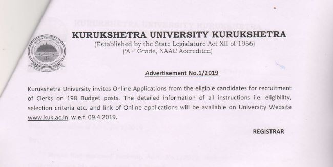 KUK Recruitment for 198 Clerks