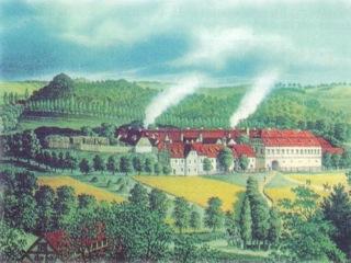 Bild: Die Saigerhütte bei Hettstedt in einer historischen Abbildung. Dieses Bild ist gemeinfrei, weil seine urheberrechtliche Schutzfrist abgelaufen ist.
