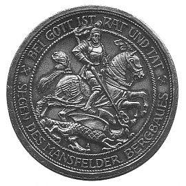Bild: St. Georg - der Drachentöter - ist der Schutzheilige der Stadt Mansfeld. Motiv auf einem Mansfelder Segenstaler.