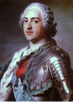 König Louis XV von Frankreich. Dieses Bild ist gemeinfrei, weil seine urheberrechtliche Schutzfrist abgelaufen ist.