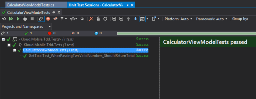 Running Mobile TDD Tests Visual Studio