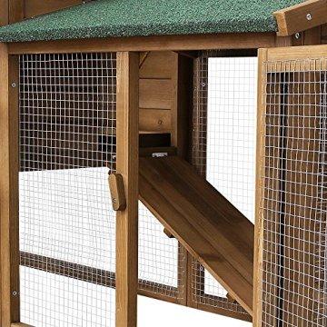 Der Songmics Kaninchenstall Hasenstall winterfest Appartement Produktdetails, Vorteile und Nachteile. Besitzt zwei Etagen und ist leicht zu reinigen.