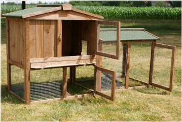 Der Zooprimus Stall 1 - Kaninchenstall Hasenstall Hasenkäfig Außenbereich - Kaninchenstall kaufen. Viel Platz durch geöffnete Türen für ein Außengehege.
