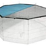 ► Kerbl Freigehege aus 8 Gittern verzinkt [mit Netz + Tür, Ø 143 cm]