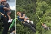 اليوتيوب ...... فيديو صادم لأب متهور يقفز من ارتفاع 200 قدم حاملاً ابنته الرضيعة