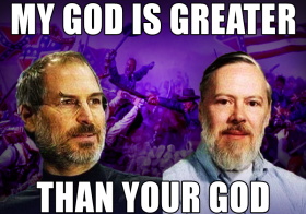 Jobs is praised by the media as the Jesus of Computing while Dennis Ritchie (UNIX) is ignored.