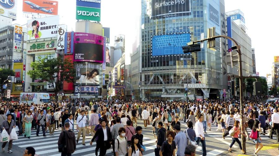 The Shibuya Crossing in Tokyo, Japan is one of the most crowded zebra crossings in the world.