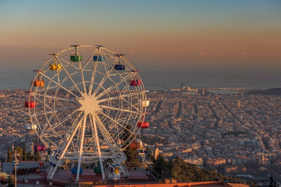 View of the city of Barcelona, Spain from Tibidabo.