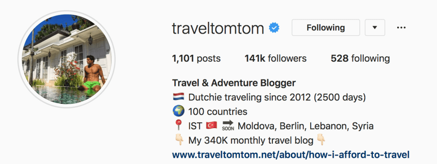 @traveltomtom is among my top 10 favourite travel instagrammers.