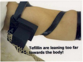 These tefillin are leaning too far towards the body!