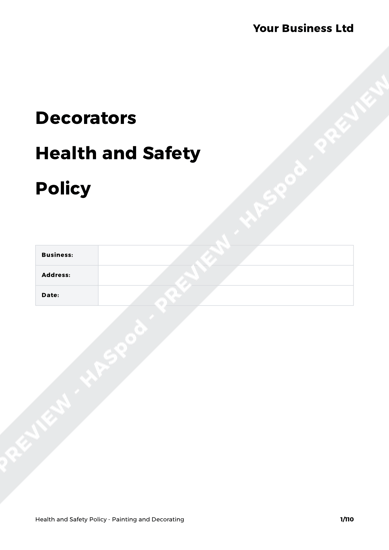 Painting and Decorating Health and Safety Policy Template