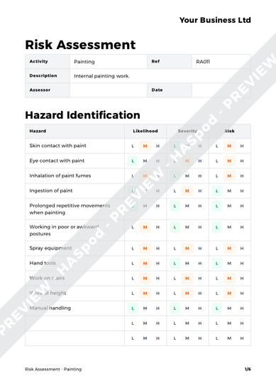 Activity Risk Assessment Template Image collections