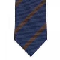 Blue Brown Stripe Tie- 100% Silk Hast