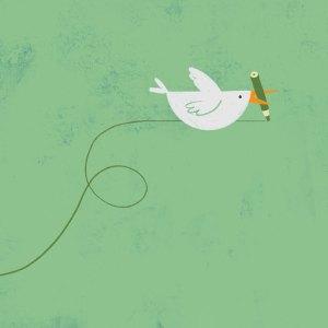 Pájaro llevando un lapicero en el pico que dibuja su trayectoria.